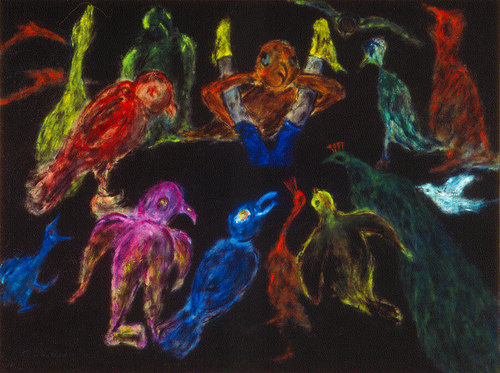 Birds and Men / 鳥與人 / Vögel und Menschen, Oil on Canvas, 30