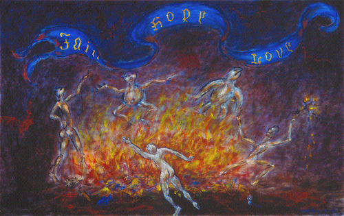Devils' Dance / 魔鬼的舞蹈 / Teufels Tanz, Oil on Canvas, 30 in. x 48 in., 2004