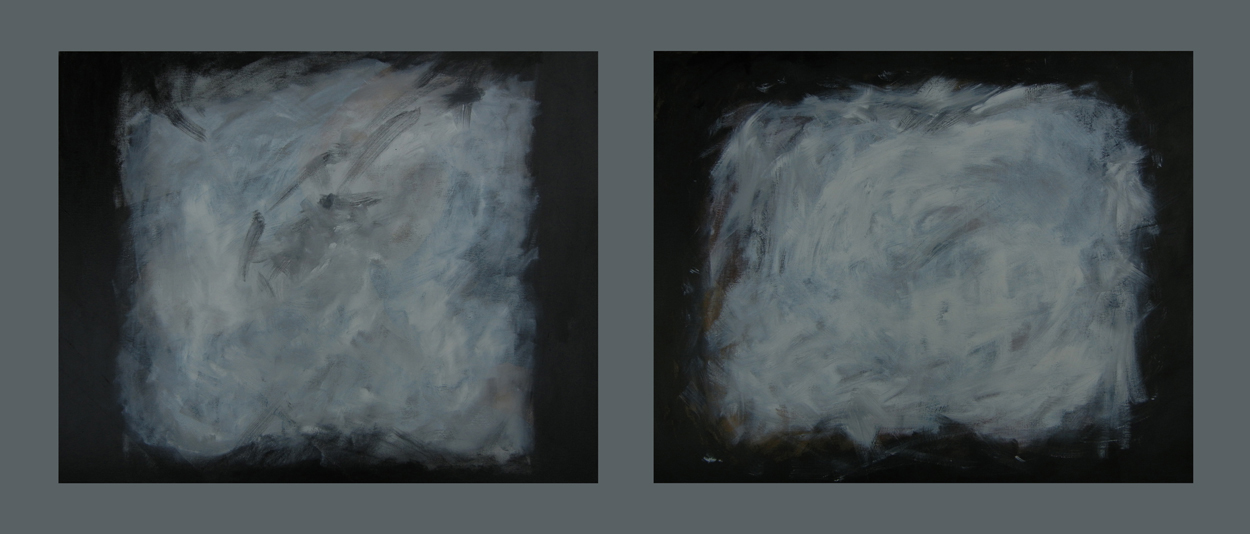 "Diptych - Dawn / 双联 - 黎明 / Diptychon - Dämmerung, Oil and Acrylic on Canvas, 24"" x 30"" & 24"" x 30"", Completed in 2013"