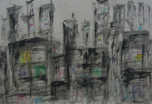 "Ink Drawing Night City 3 / 墨繪夜城3 / Tinten-Zeichnung Nacht Stadt 3, Colored Ink on Paper, 6"" x 8.5"", Completed in 2012"