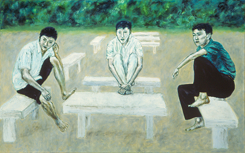 "Interaction / 交流 / Interaktion, Oil on Canvas, 30"" x 48"", Completed in 2002"