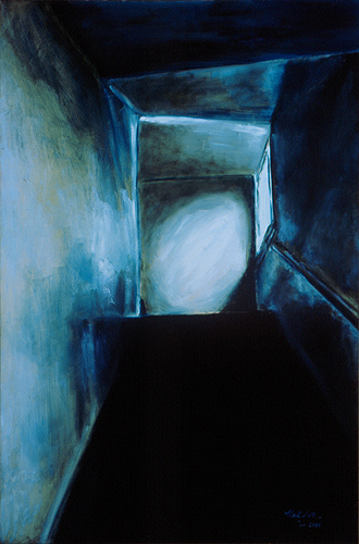 "Stairwell / 樓梯 / Treppenhaus, Oil on Canvas, 36"" x 24"", Completed in 2000"