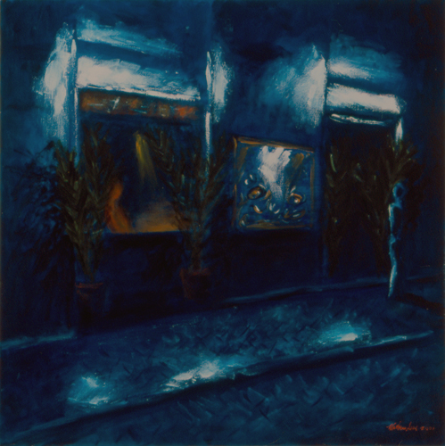 "Night Café / 夜間咖啡館 / Nachtkaffee, Oil on Canvas, 30"" x 30"", Completed in 2001"