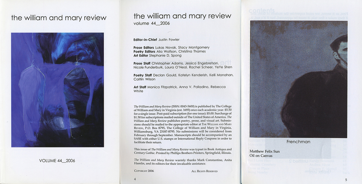 """A Young Frenchman"", The William and Mary Review ( The College of William and Mary), Volume 45, 2007"
