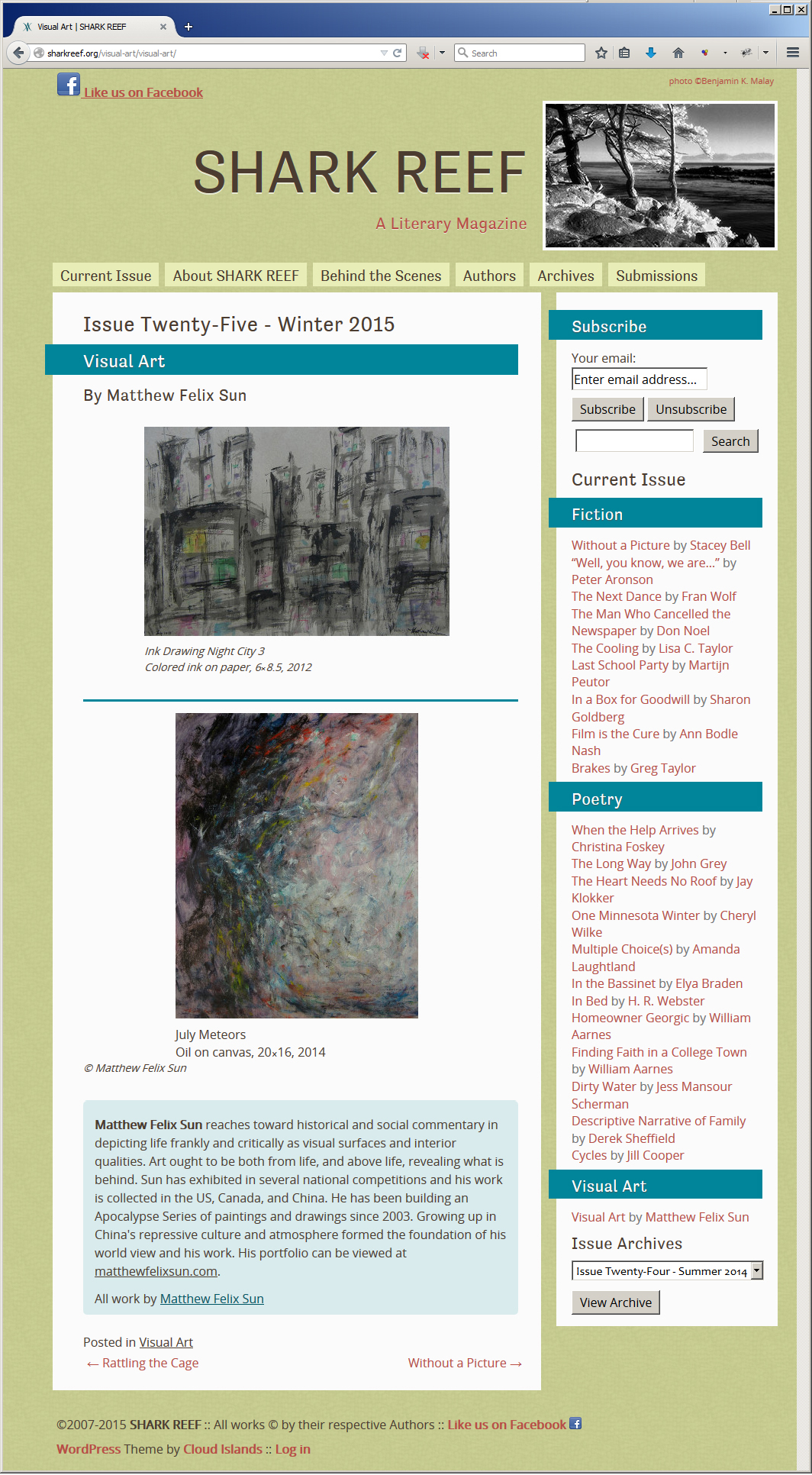 """Ink Drawing Night City 3"" and ""July Meteors"", Shark Reef Magazine, Winter 2015"