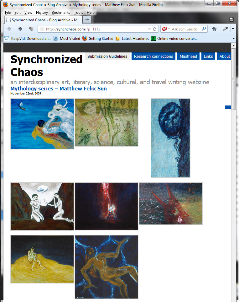"Mythology Series: ""Minotaur"", ""Daphne"", ""Sisyphus"", ""Adam and Eve"", ""Annunciation"", ""Jingwei Filling Up the Sea"", ""Nüwa Creating Humans"", and ""Nüwa Patching Up the Sky"", Synchronized Chaos, November 2009"