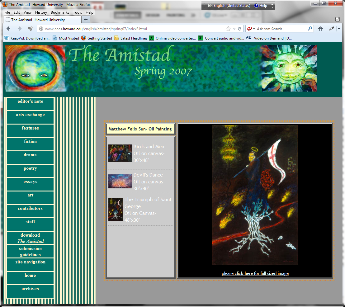 """The Triumph of St George"", ""Birds and Men"", and ""Devils' Dance"", The Amistad (Howard University), 2007"