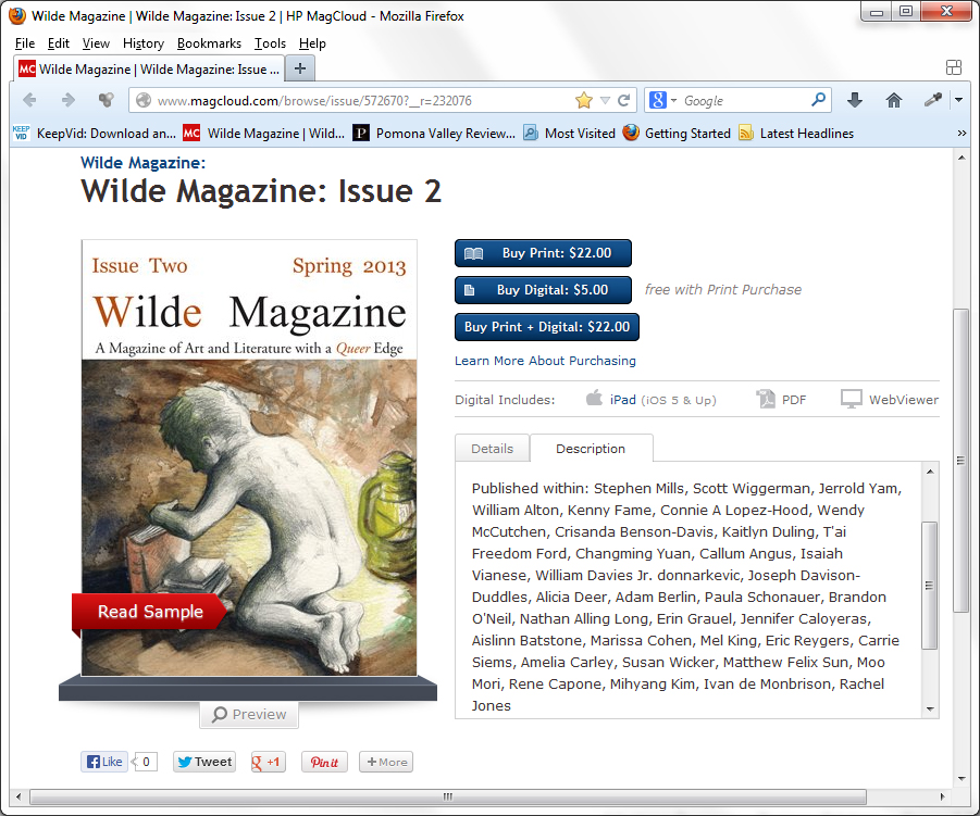 """Pilgrim"", and ""Pond"", Wilde Magazine, Issue 2m Spring 2013"