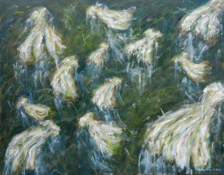 "White Dresses / 白連衣裙 / Weiße Kleider, Oil on Canvas, 22"" x 28"", Completed in 2011"