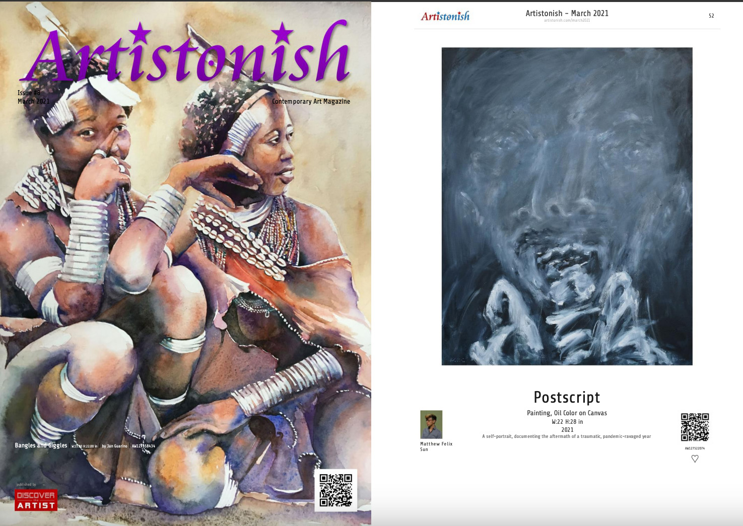 Postscript, oil Painting, published by Artistonish magazine, March 2021